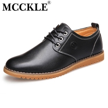 MCCKLE Hot 2017 New Spring British Genuine Leather Men Shoes Brogue Man's Shoes Fashion Men Flat Casual Shoes Plus Size Spring