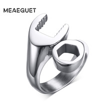 Meaeguet Wrench Punk Biker Ring For Men Stainless Steel Mechanic Ring For Male Party Jewelry Anel Masculino(China)