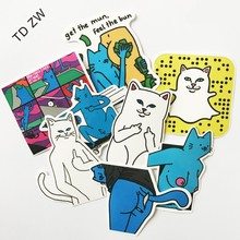 TD ZW 8pcs Leon KarssenErect middle finger stickers skateboard Notebook trolley case backpack Table PVC car styling automobiles
