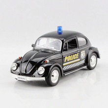 RMZ New Arrival 1:36 Scale Diecast Model Police Car Toys,Miniature Brinquedos, Pull Back Cars, Doors Openable Police Beetle Toy