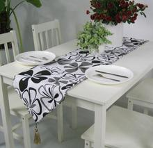 New Flower Cotton Canvas Table Runner Black Table Flag Green Table Cloth Free Shipping(China)
