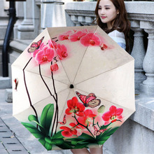 New Novelty Flowers Birds Oil Painting Arts Umbrella Rain Women Creative Famous Brand Mujer Paraguas Anti-UV Parasol Kids
