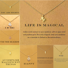 2017 make wish necklace with card Elephant Pendant Short Chain Choker Necklace For Women Jewelry Christmas gift