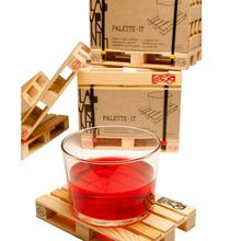 4pcs/1Set Miniature Pallet Wood Beverage Coasters Drink Wine Glasses Beer Bottle Whiskey Glass Cup Mat Hot Cold Drinks Table Mat