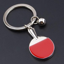 New arrival Novelty Souvenir Table Tennis Racket Keychain Metal Mini Pingpong Ball Keyring Metal Ball Keychain WL170112006