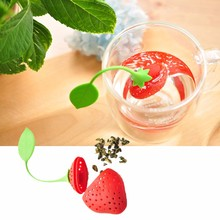 MOONBIFFY Silicone Strawberry Tea Infuser Loose Leaf Tea Strainer Herbal Spice Infuser Filter Tools(China)