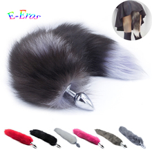 Buy New Faux Fox Tail Anal Plug Stainless Steel Metal Anal Butt Plug Anal Plug Tail Anal Sex Toys Women Adult Sex Products