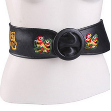 Black Belts for Women Dress Pu Leather Wide Belt Female with Embroidery Waistband All Match Accessories Elegant Ladies Riemen(China)