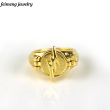 Fashion Jewelry Superhero The Flash Ring Can Open Cover Lightning Logo Gold Rings For Men And Women Collection