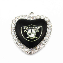 Buy 10pcs/lot Football Sports Team Oakland Raider Dangle Charms Heart Crystal Glass Pendant DIY Jewelry Necklace Bracelet Making for $6.96 in AliExpress store