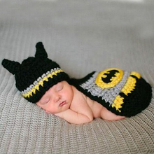 Newborn Baby Batman Hat Crochet Pattern Infant Photography Props Costume Set Handmade Baby Beanie Hat With Cover   5SY28