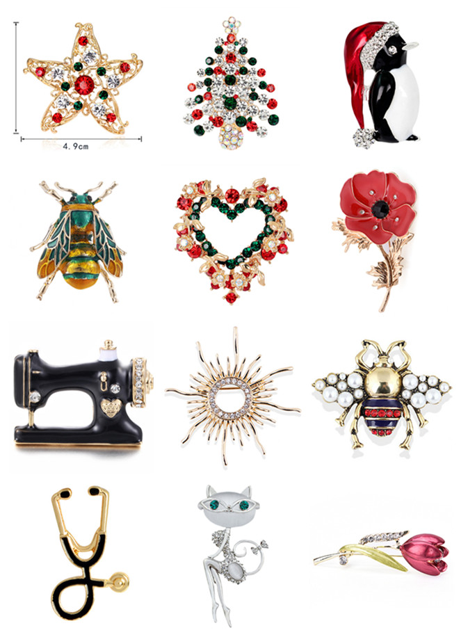 Cute Animals Enamel Insect Brooches For Women Vintage Star Tree Bee Flower Cat Stethoscope Pins Fashion Party Gift