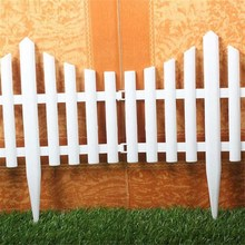 61X33CM Plastic Fences White Railing Fences European Country style Insert Ground For Garden Courtyard Decor Easily Assembled