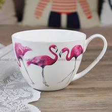 Pretty In Pink Bone China Mug Porcelain Breakfast Cups Bowl Cereal Soup Cup Pink Flamingo Milk Coffee Mug Salad Dessert Bowl(China)