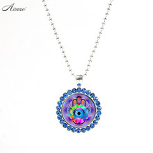 beauty and the beast Eyes Pictures Necklaces Synthetic Diamonds Chain Necklace Vintage Silver Color Jewelry Necklace Women I004