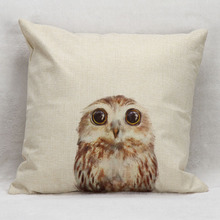 Cute Little Baby Bird Owl Cushion Covers Hand Painting Style Pillow Cover Decorative Linen Beige Pillow Case For Sofa Seat Chair(China)
