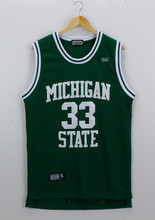 Magic Earvin Johnson #33 Michigan State Stitched Basketball Jersey Sewn Camisa Embroidery Logos