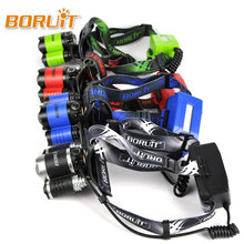 BORUIT XM-L2+ XPE Green / Red/Blue /White LED Headlamp USB Rechargeable Flashlight Hunting Headlight for Hunting+2x18650 battery