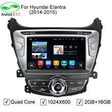 HD 8 inch 1024x600 Quad Core Android 5.1.1 Auto PC Android 5.1 Car DVD GPS For Hyundai Elantra 2014 2015 With 4G WiFi DVR CANBUS