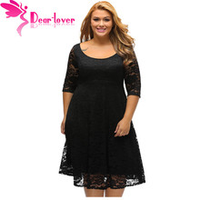 Dear Lover Autumn Dress Plus Size Women Clothing White/Black Floral Lace Sleeved Fit and Flare Curvy Dress Vestido Casual C61395(China)