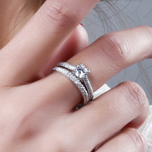 Bridal wedding Rings set Gold and White Gold color 2pcs Gifts Ring Crystal Classic Engagement Jewelry Womans Rings for Wedding