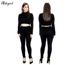Adogirl Women Suit New Fashion Ladies Set Club Wear Clothing Sexy Long Sleeve Crop Top And Pencil Pants romper Two Piece Outfits
