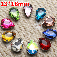 50pcs 13*18mm Crystal Mix Color Waterdrop Sew On Rhinestone With Claw Setting Silver Back Fancy Stone With Metal Claw With Holes