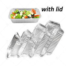 100pcs/Lot With Cover Disposable Aluminum Foil Pans Food Storage Containers Plate bowl Microwavable Cup Tableware 150ml 1100ml