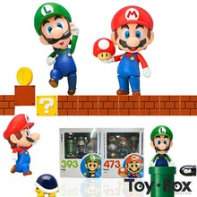 Nendoroid Super Mario Bros Mario 473 Luigi 393 Cartoon Toy PVC Action Figure Model Doll Gift(China)