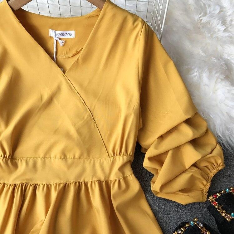 2109 Spring Women V-neck Puff Sleeves Blouse Slim Tunic Tops Retro Vintage Pullovers Busos Para Mujer Kimonos 77 Online shopping Bangladesh