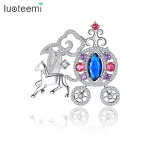 LUOTEEMI Unique Carriage Brooch Micro Paved Shining CZ Animal Horse with Car Shape Pins for Women Party Elegant Jewelry(China)