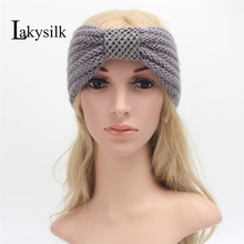 [Lakysilk]Fashion Ladies Headwear Women Winter Warm Striped Stretch Turban Soft Knit Headband Beanie Crochet Headwrap(China)