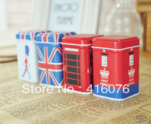 Free Shipping! 8pcs/lot Toothpicks Holder Mini Tin Box UK Style Painted Dispenser Box Coin Saver Gift Home Decoration T1208(China)