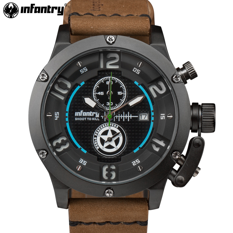 INFANTRY Luxury Brand Sport Watch Nightvision Quartz Male Clock Genuine Leather Chronograph Military Watch WORLD PEACEKEEPERS <br>