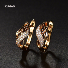 XIAGAO New Design Gold-color Charm Austrian Crystal Hoop Earrings Shiny Rhinestone Delicate Earring Jewelry(China)