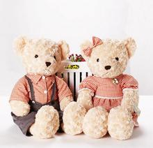 Hot 25cm 2pcs/pair lovely mini couple teddy bear with cloth plush toy dolls girls birthday&christmas gift 100%good