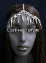 FREE SHIPPING 2014 STYLE B102 WOMEN FASHION SILVER HEAD CHAIN LONG SPIKES RHINESTONES HAIR CIRCLET JEWELRY