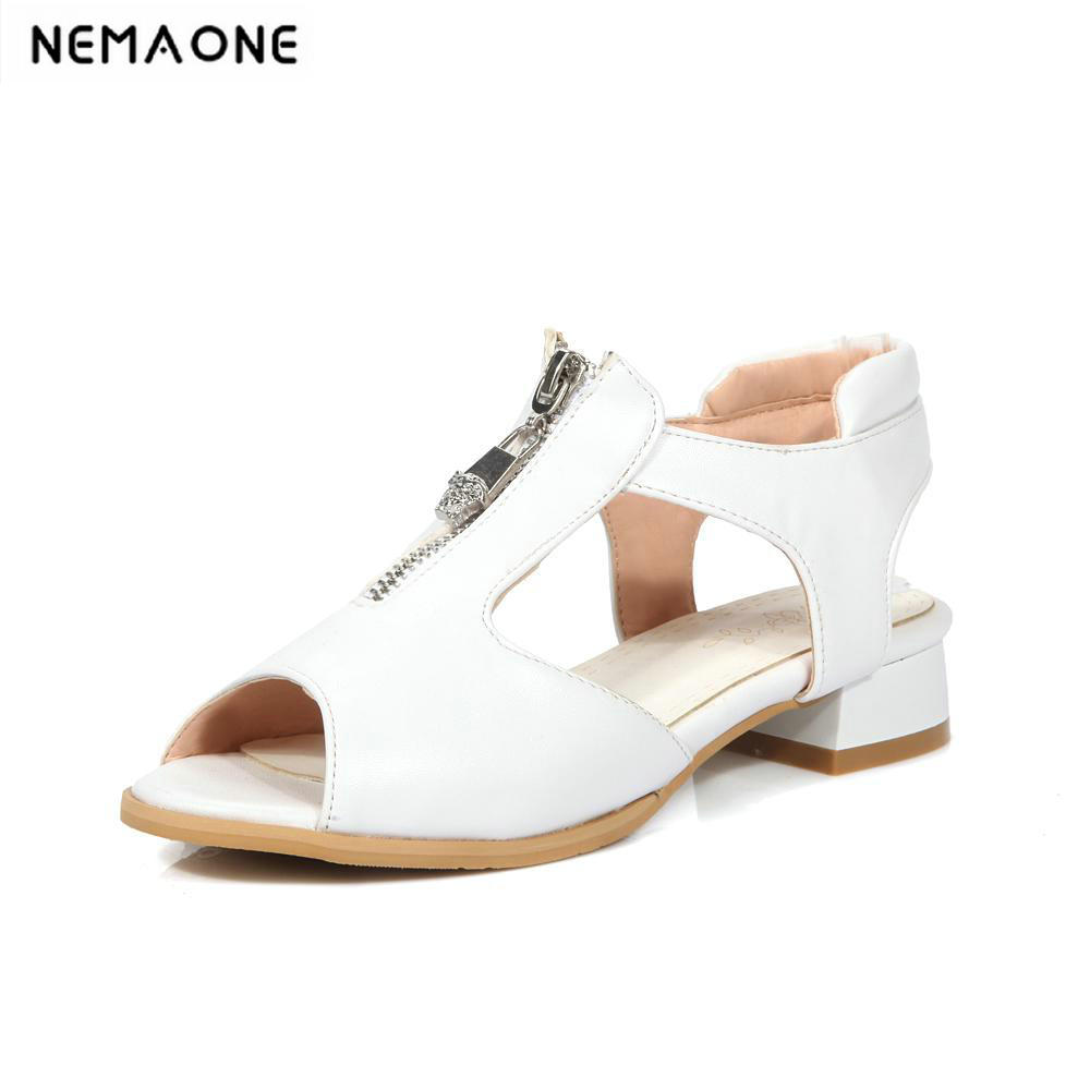 2018 New Fashion open Toe Summer Women square Heels Sandals low Heel summer Shoes For Female<br>
