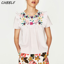 Summer New European Floral Embroidery Laminated Decorative Blouse Fashion White Women Shirts C6057