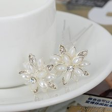 20Pcs/lot Crystal Pearl Bridal Wedding Prom Hair Pins Hairpins Pearls Flower Hair Clip Women Hair Jewelry Accessory