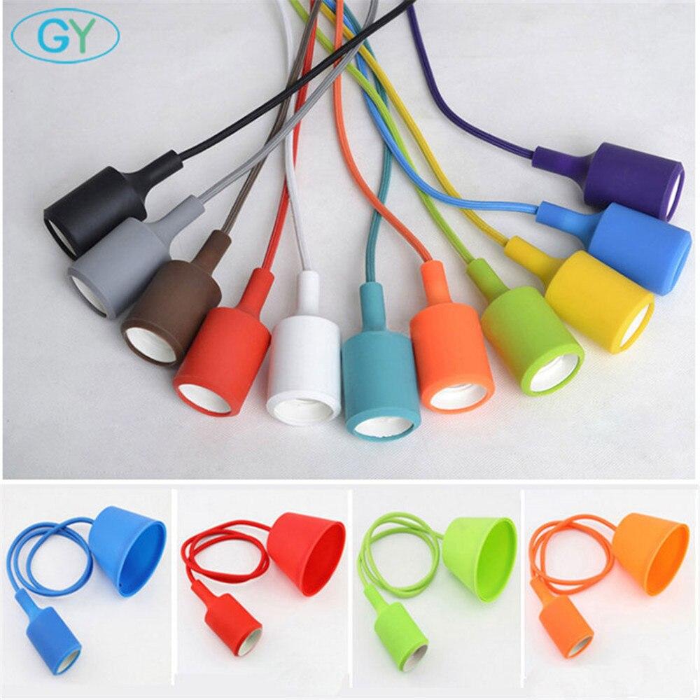 Colorful Silicone Pendant Lights E27 Holder Modern DIY Design hanging Lamps Ceiling Base home store shop industrial lighting