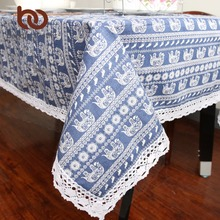 BeddingOutlet Elephant Cartoon Tablecloth Cotton Linen Dinner Table Cloth Macrame Decoration Lacy Table Cover Washable 9 Size
