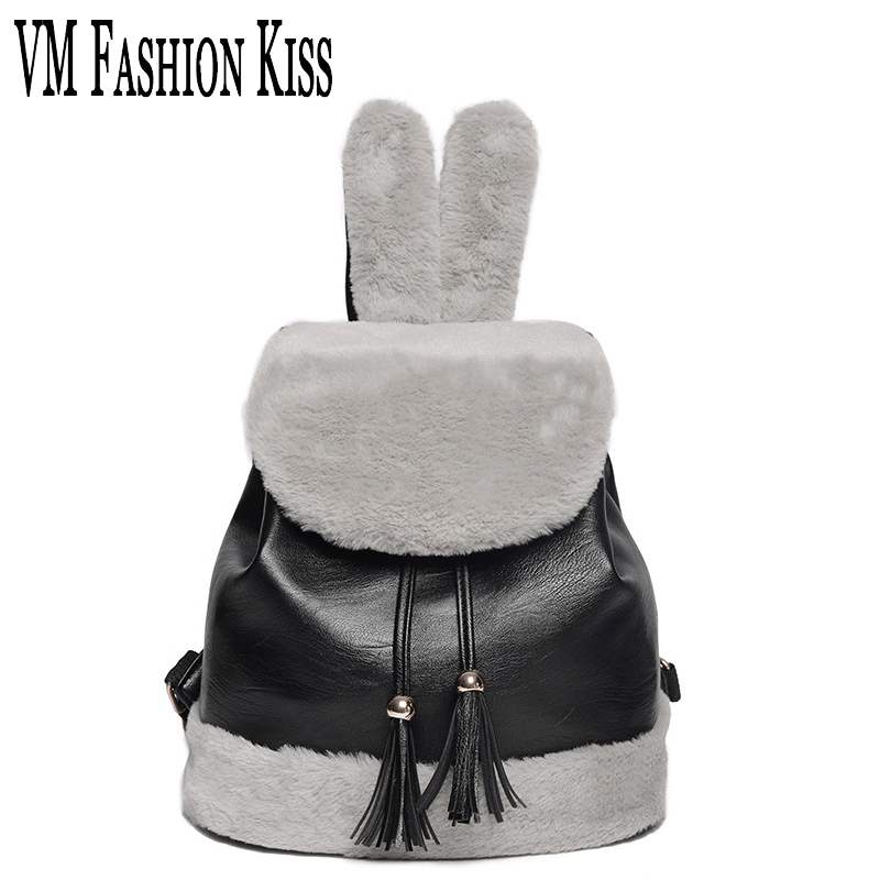 VM FASHION KISS 2017 New Autumn And Winter Plush Rabbit Ear Female Backpack Cute Travel Bag Female Backpacks Ladies School Bags<br>