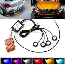 Hot Sale! One to Four 4 x 3SMD Flash DRL Daytime Running Light LED Eagle Eye Strobe LED Car Light Lamp with Wireless Remote