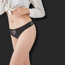 Buy Women Sexy Lace Transparent Thong Panties Low Waist Cotton Crotch Briefs Girls Soft Breathable Undearwear G-String DULASI