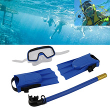 1Set Snorkeling Diving Mask Breathing Tube Long Fins Foot Flippers 3Pcs Snorkels Set Swimming Pool Training Equipment New Style(China)