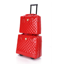 Wholesale!15 16inches pu leather vintage red/black crocodile pattern travel luggage set,female&male retro commercial trolley set(China)