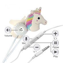 In Ear Wired 3.5 mm 3D Cute Cartoon Animal Unicorn Earphone/Earbuds/Headphones with Mic Hands-free for Apple,Samsung,HTC,Androi(China)