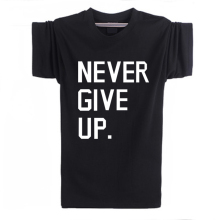 Never give up Ice Bucket Challenge Printed Mens Men T Shirt Manga Curta Short O neck male cotton Sleeve tee shirts F10621