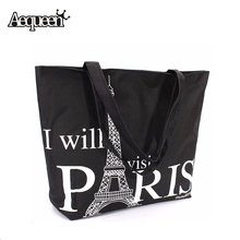 Large Space Women Canvas Handbag Zipper Shoulder Bag Paris Eiffel Tower Pattern Shopping Bag Women Beach Bookbag Casual Tote